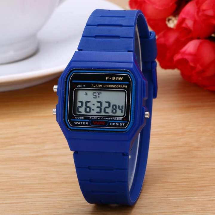 Giá bán Đồng hồ điện tử trẻ em dây cao su WR (Dây Xanh, Mặt Xanh)