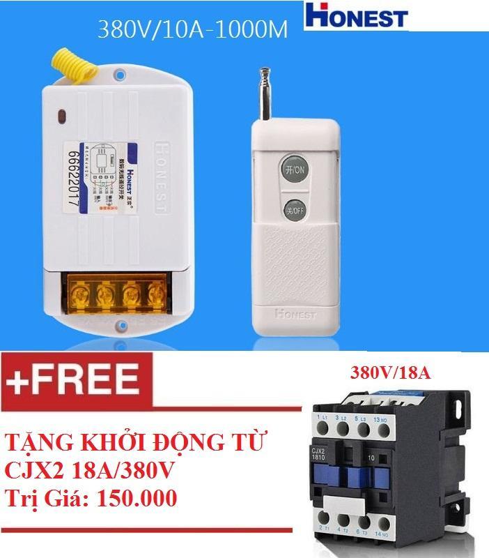 Công tắc điều khiển từ xa Honest 6380KG-1 380V/10A khoảng cách 100 - 1000M + tặng khởi động từ 3 pha công suất lớn CJX2 18A/380V