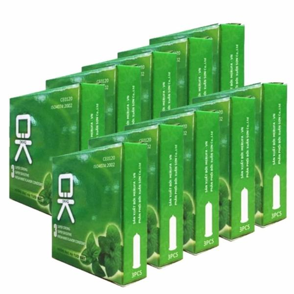 Bộ 10 hộp Bao cao su OK bạc hà mát lạnh cho cảm giác thăng hoa