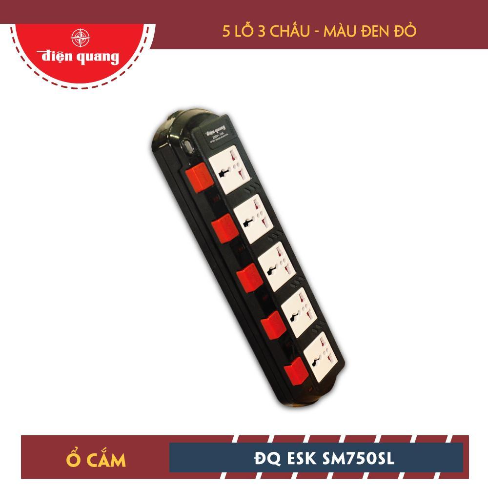 Ổ cắm Điện Quang ĐQ ESK 2B.SM750SL (5 lỗ 3 chấu dây 2 mét màu Đen Trắng Đỏ)