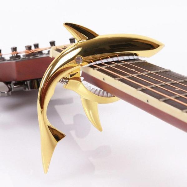 Capo cá mập màu vàng loại dài cho đàn Classic và Acoustic tặng pick