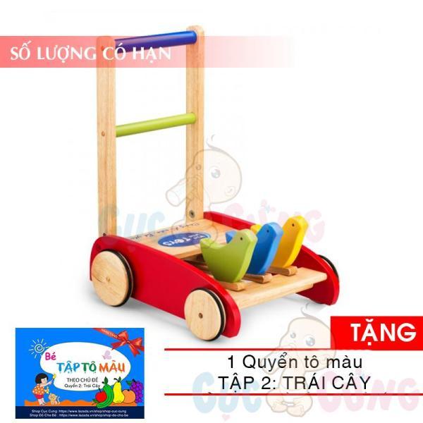 Xe tập đi bằng gỗ 3 đầu hình thú Song Son  TẶNG 1 quyển tô màu (trái cây) - xe tap di cho be