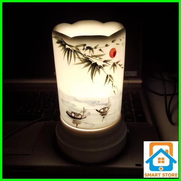 Đèn xông tinh dầu sứ Bát Tràng hình Ống cỡ TO 9 x 16,5cm / Đuổi muỗi Diệt muỗi Đèn trang trí SS38