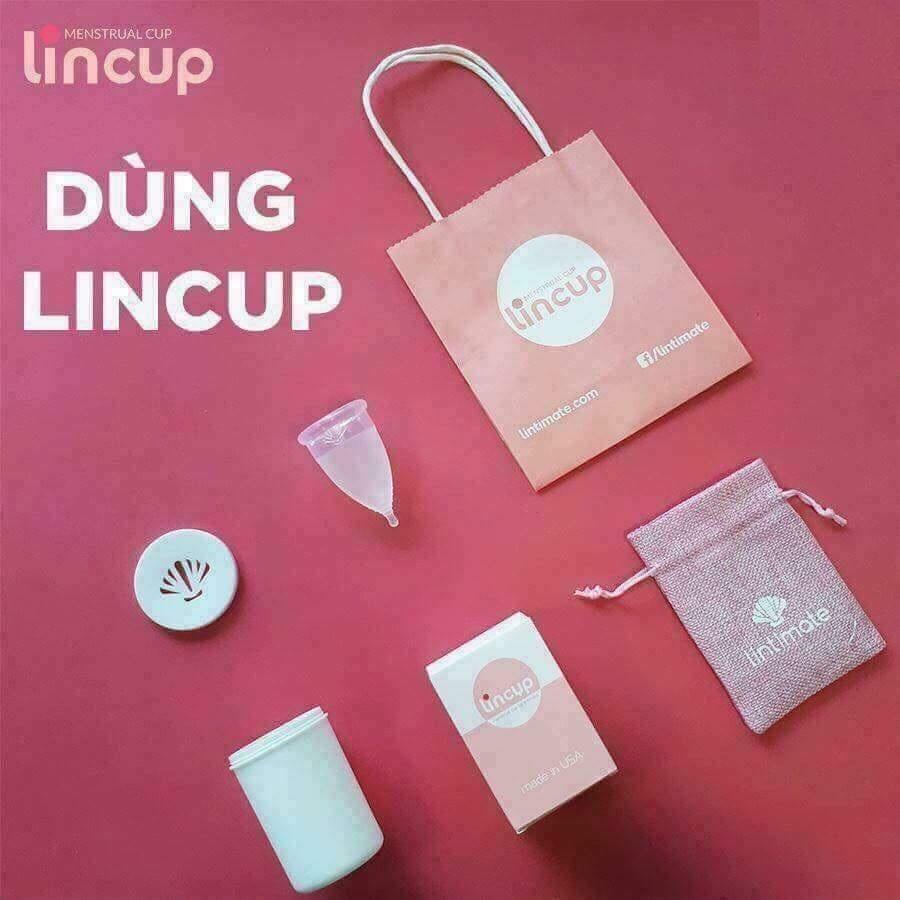 Cốc nguyệt san Lincup + Tặng cốc tiệt trùng + Túi vải nhập khẩu