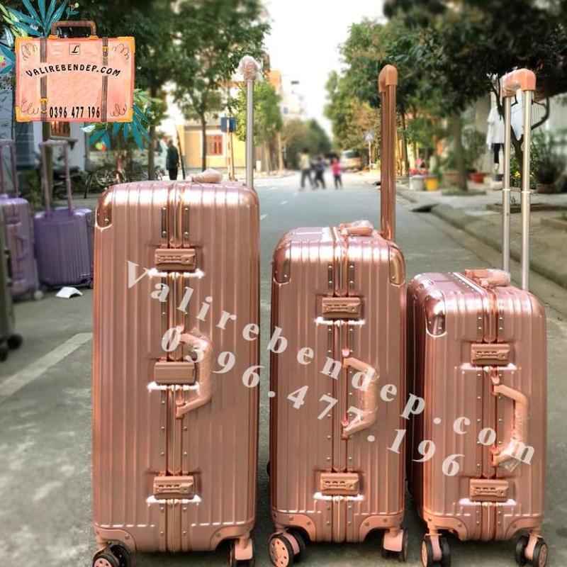Vali du lịch Khung Nhôm Khóa Sập Hồng Gold Size 24 ( 6 màu)