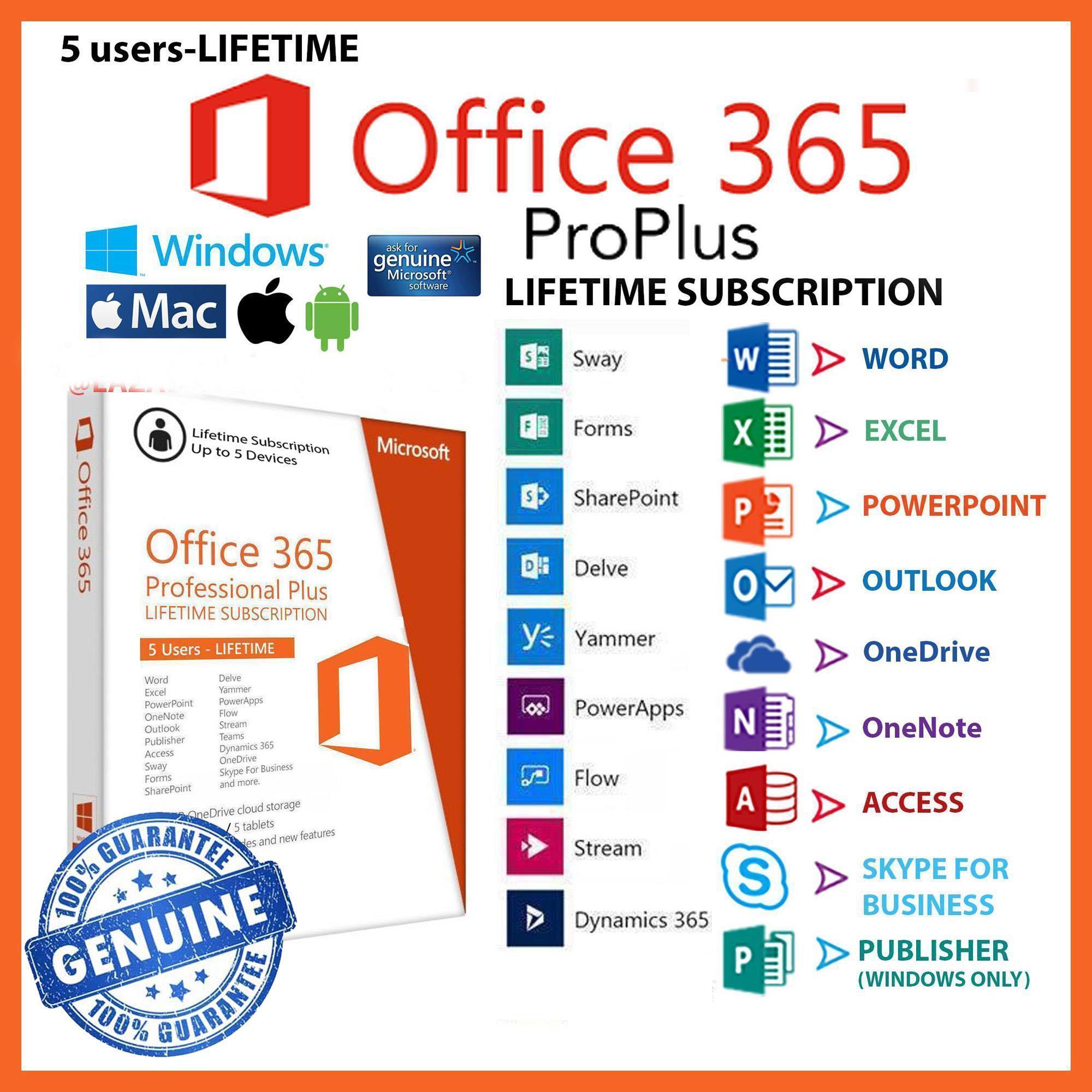 (Flash Sale) Bộ office 365 chính hãng trọn đời gồm 2016 proplus sử dụng cho 5 thiết bị