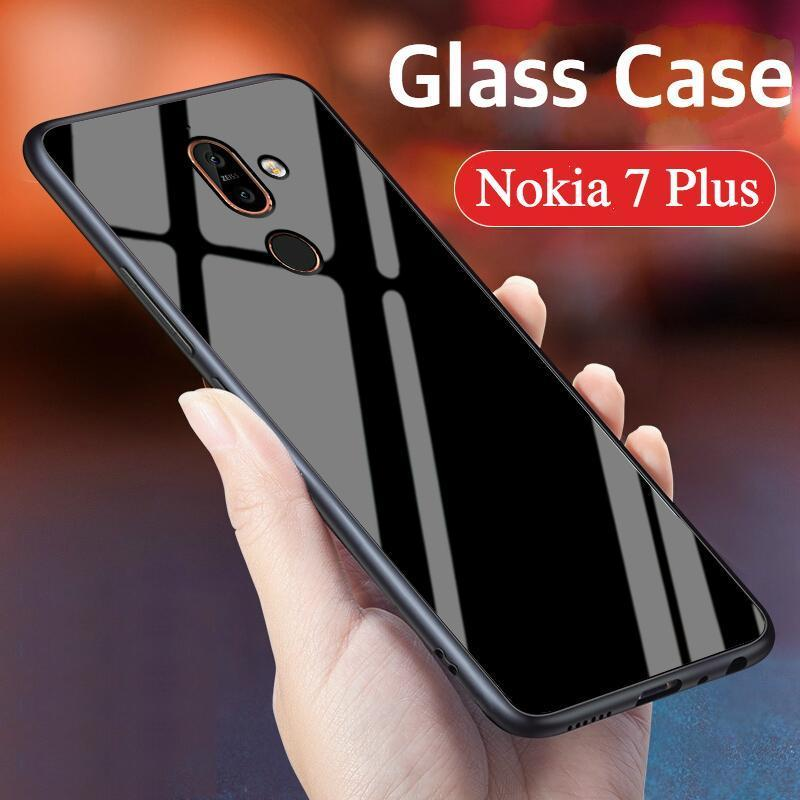 """Giá Nokia 7 Plus Case """"HONG KONG Design"""" Luxury Fashion Tempered Glass Protector Casing for Nokia 7 Plus Glass Back Cover"""