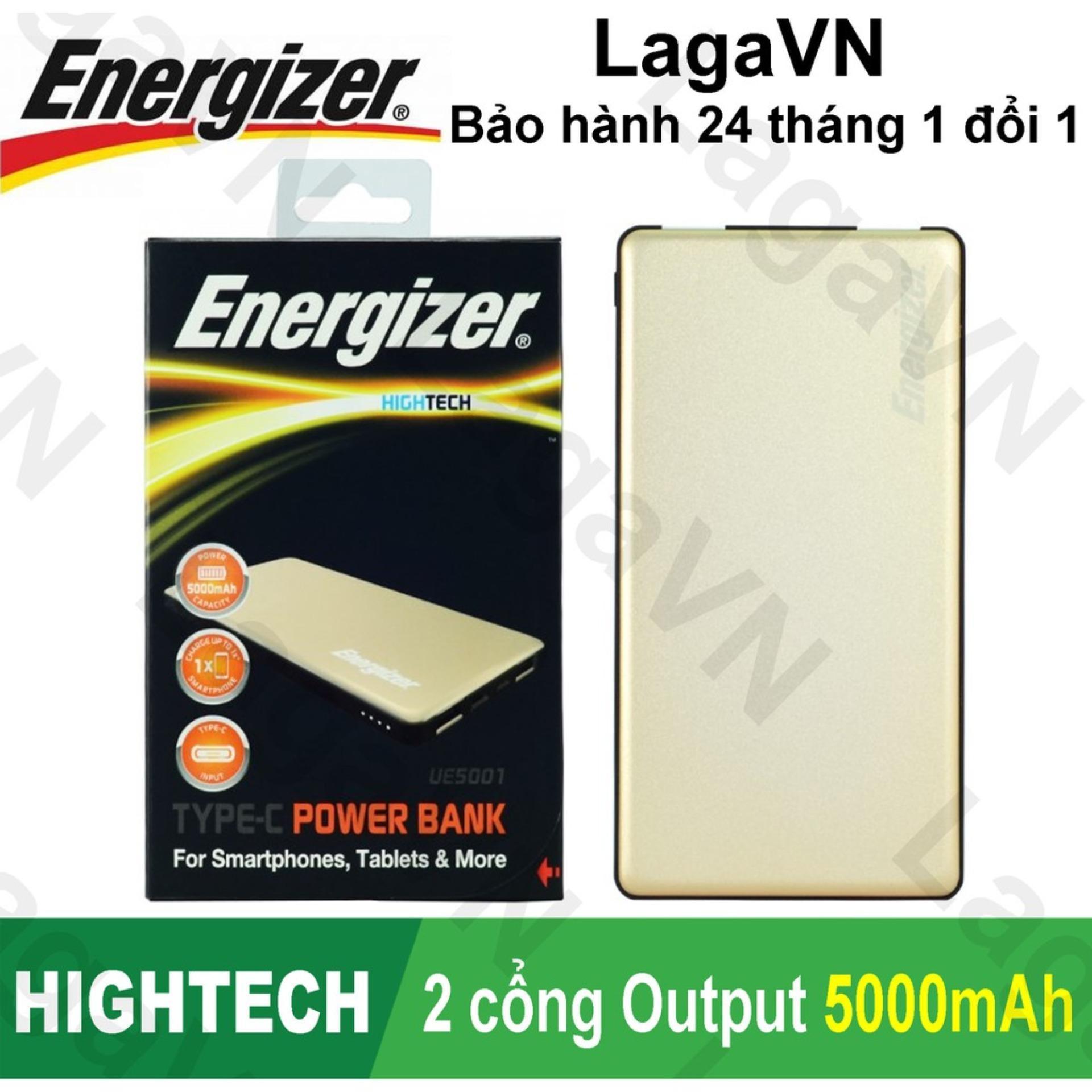 Pin sạc dự phòng Energizer 5000mAh 2 cổng Output - UE5001 - Hãng phân phối chính thức