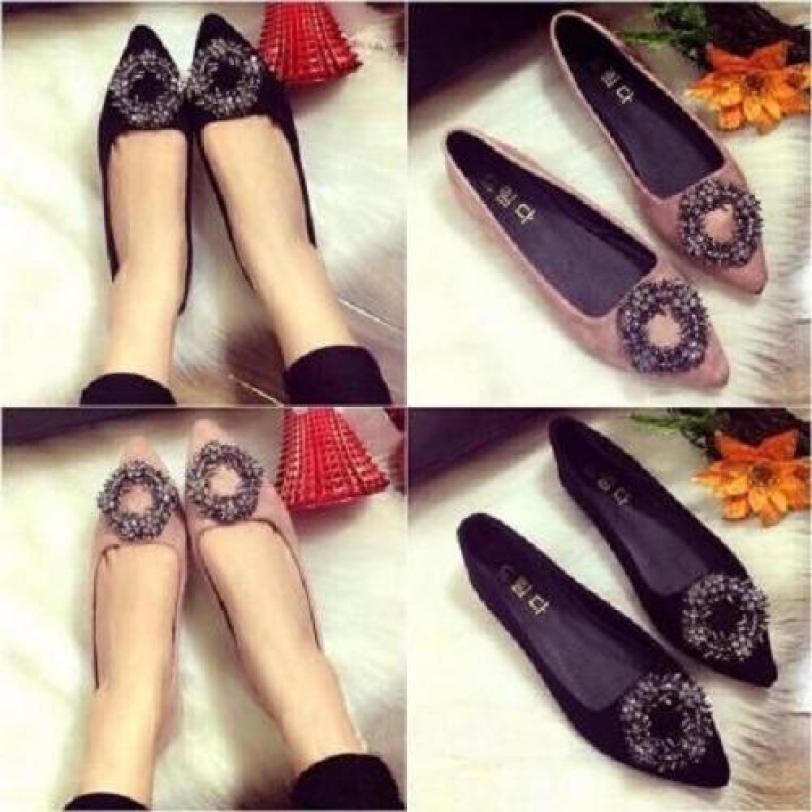 Giày Búp Bê nhung Khóa Vòng hoa-đen giá rẻ