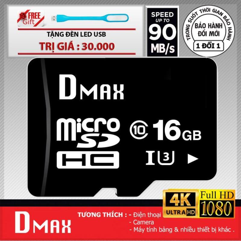 Thẻ nhớ 16GB tốc độ cao U3 , up to 90MB/s Dmax Micro SDHC class 10 - Bảo hành 5 năm+ Tặng đèn led