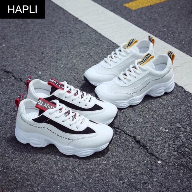 Giày sneaker nữ kiểu Hàn Quốc thêu chữ HAPLI (Trắng,trắng Vàng) Nhật Bản