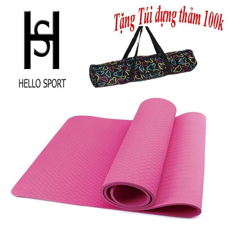 Thảm Tập TPE Yoga Đúc 1 Lớp 6mm Cao Cấp HS ( Tặng Túi + Dây Buộc) - Hồng Nhạt