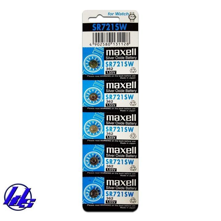Pin đồng hồ SR721SW 362 Maxell silver oxide - Vỉ 5 viên