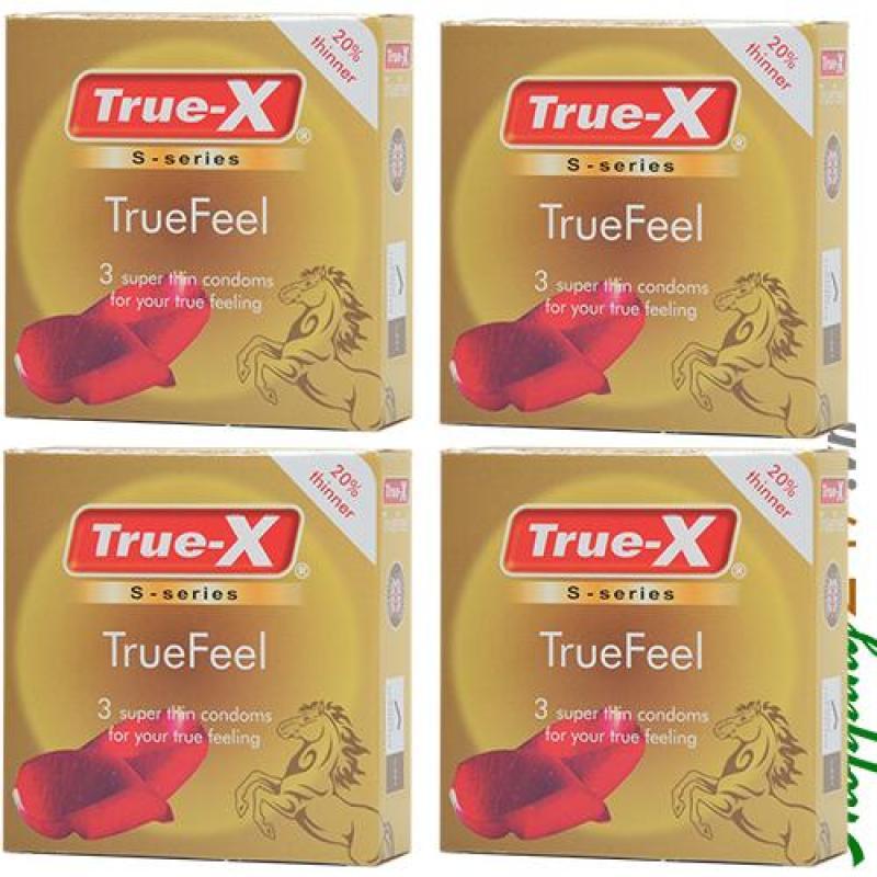 Bộ 4 hộp bao cao su True-X True Feel (Vàng) cao cấp