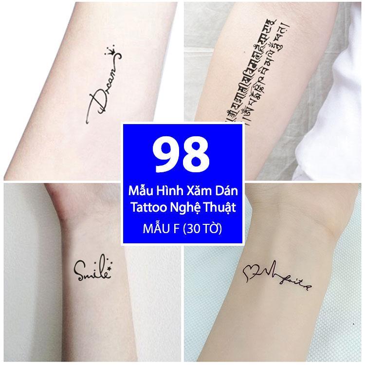 Hình ảnh Bộ 98 Mẫu Hình Xăm Dán, Hình Xăm Tattoo Cao Cấp Combo 30 Tờ - Mẫu F