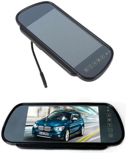 Màn hình ốp gương 7 inch chuyên hiển thị camera tiến, lùi tiện dụng vừa làm gương chiếu hậu vừa làm màn hình camera, điện áp 12V-24V có 2 cổng AV, màn hình màu dạng TFT-LCD cho hình ảnh camera sắc nét