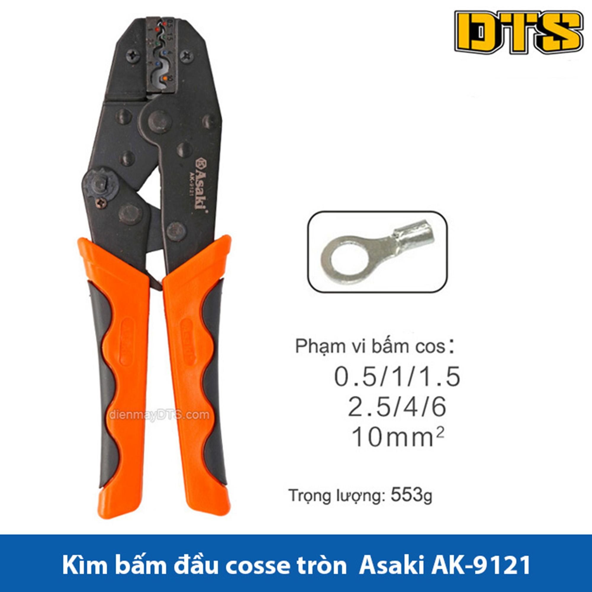 Kìm bấm cos tròn Asaki AK-9121 0.5 ~ 10mm2 - Kềm bấm cốt tròn, Kìm bấm đầu cosse Asaki (Kìm bấm đầu cote Asaki)