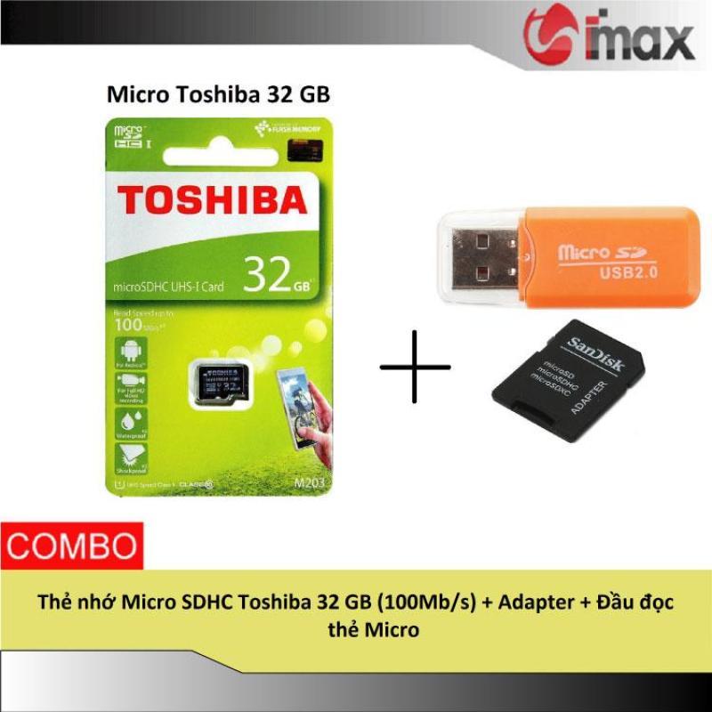 Thẻ nhớ Micro SDHC Toshiba 32 GB (100Mb/s) + Adapter + Đầu đọc thẻ Micro