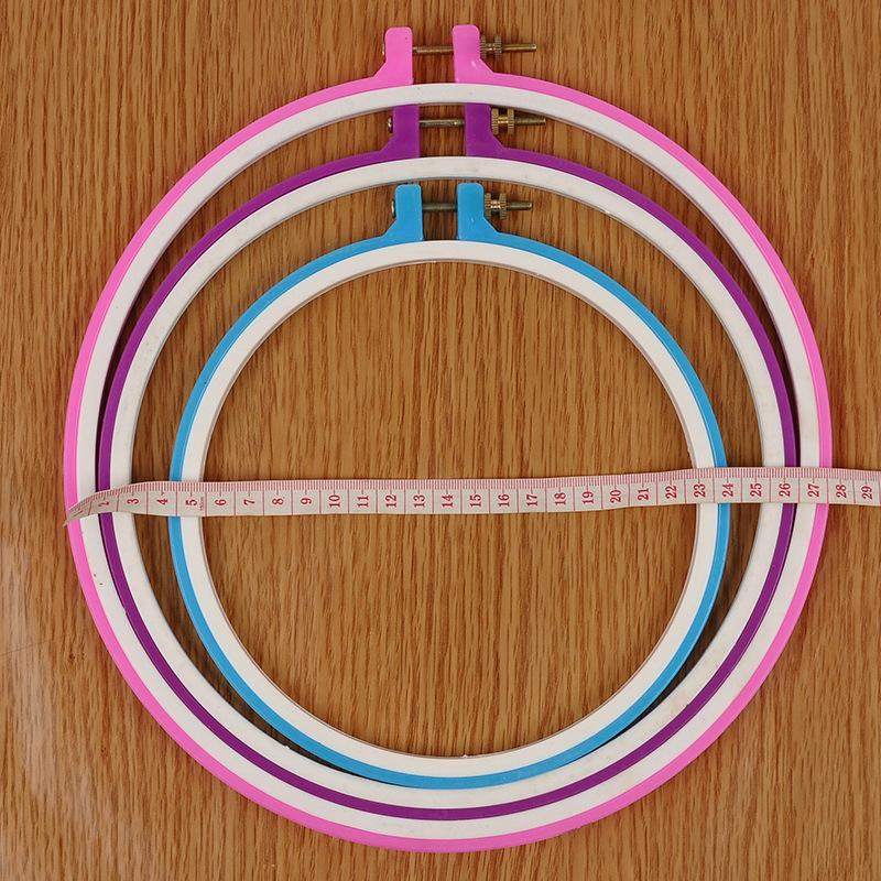 HOSSEN 6Pcs Different Sizes Plastic Embroidery Hoops Adjustable Cross Stitch Hoop Embroidery Circle for DIY Art