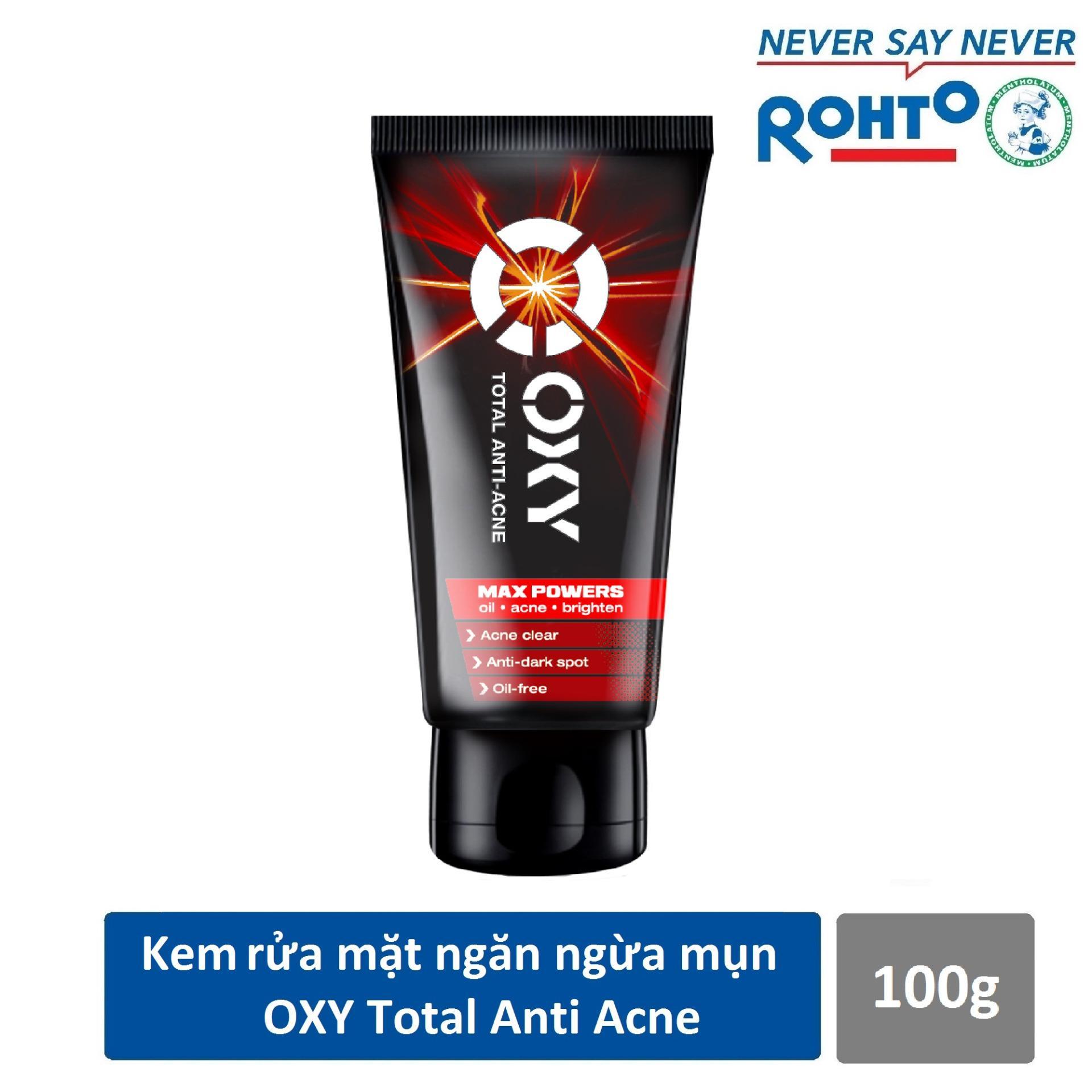 Kem rửa mặt ngăn ngừa mụn cho nam Oxy Total Anti Acne 100g + Tặng Vớ OXY cực cool
