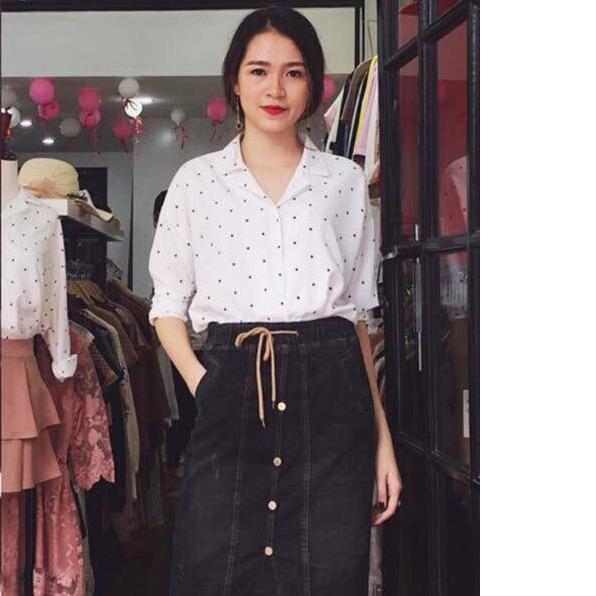 Bán Ao Sơ Mi Nữ Cotton Lụa Họa Tiết Chấm Bi Tiểu Thanh Shop Mau Trắng Oem Trực Tuyến
