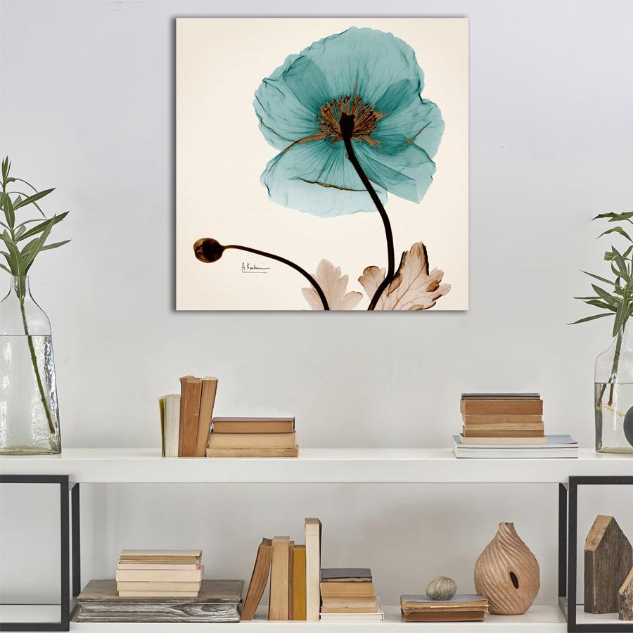 Tranh canvas nghệ thuật sang trọng, tranh hoa xanh treo phòng ngủ, phòng ăn đẹp - khung hình Phạm Gia PGTK104