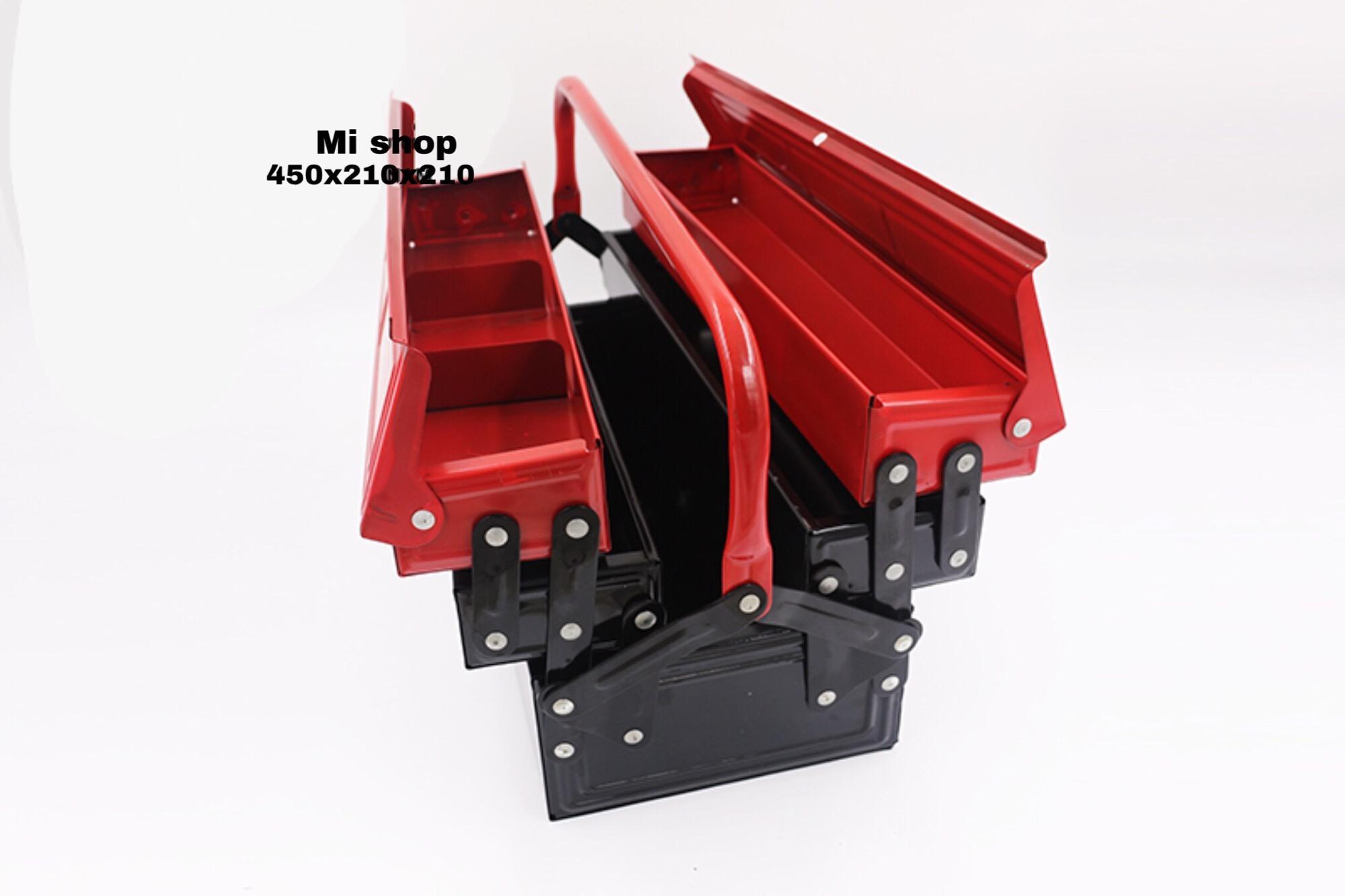 Hộp Đựng Dụng Cụ Sắt Đỏ Đen Đa Năng Cỡ Lớn(450x210x210mm)