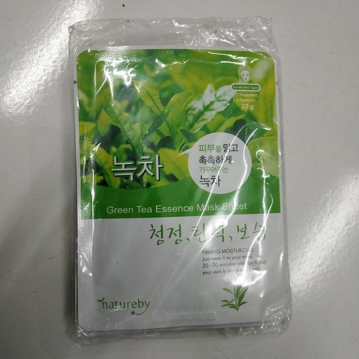10 Mặt Nạ Dưỡng Trắng Da từ Trà Xanh HÀN QUỐC Natureby Green Tea Essence Mask Sheet 23g