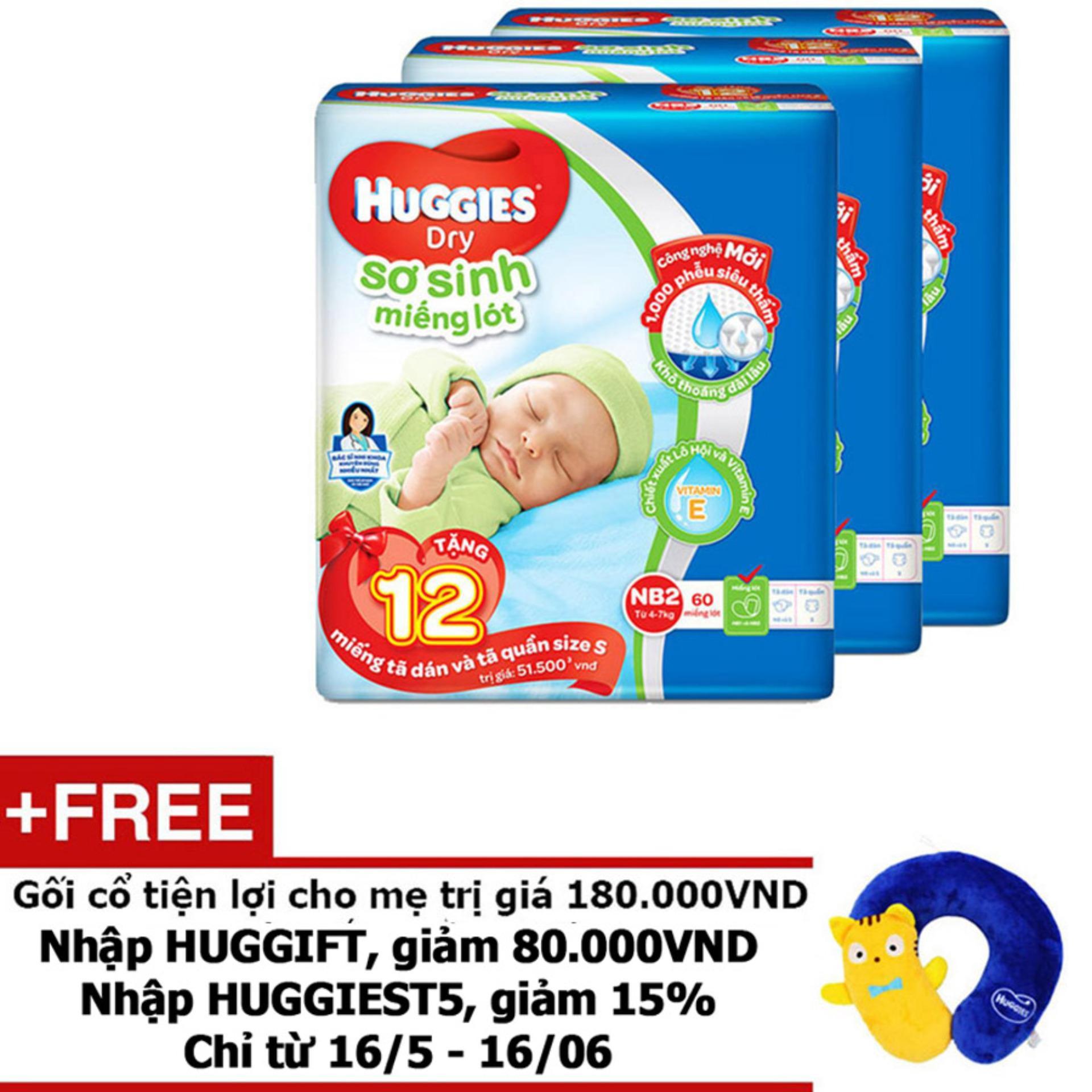 Hình ảnh Bộ 3 Miếng lót sơ sinh Huggies Newborn 2 (4-7kg) - N60 (Gói 60 miếng) - Tặng 12 miếng/ gói và 1 Gối cổ tiện lợi cho mẹ trị giá 180.000VND màu sắc ngẫu nhiên
