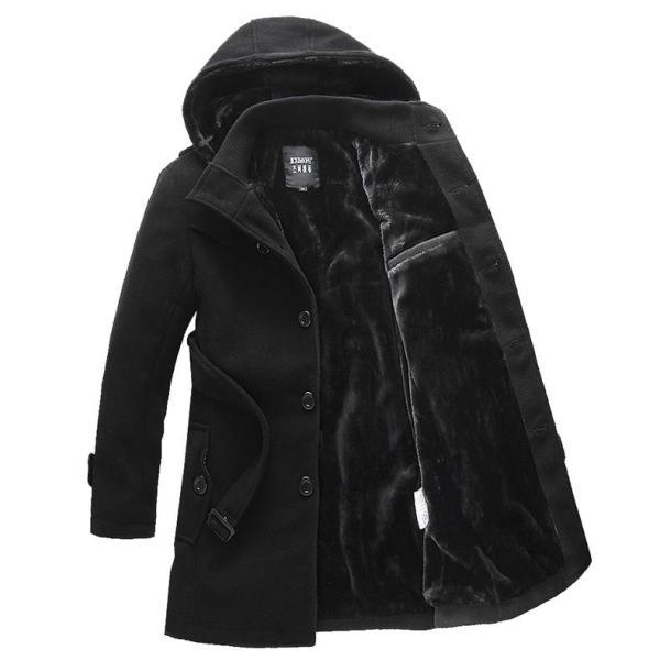 Áo khoác nam chất dạ dáng măng tô lót lông AKN0230