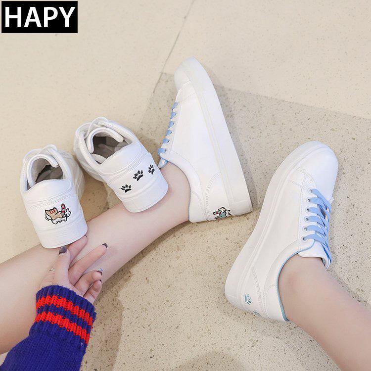 Giày sneaker nữ thêu mèo HAPY 3 mầu (trắng đen,trắng hồng,trắng xanh)
