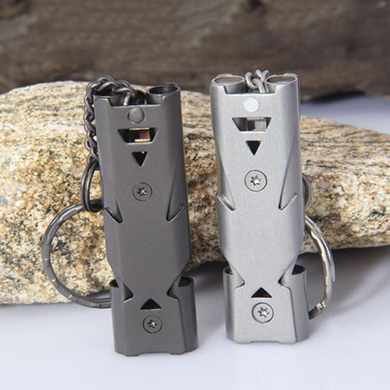 Double Pipe High Decibel Stainless steel Outdoor Emergency Survival Whistle Keychain Cheerleading Whistle - intl
