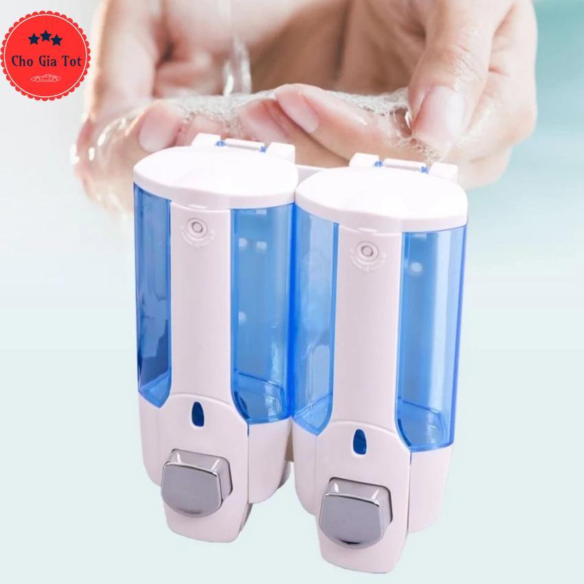 Bộ 2 hộp đựng nước rửa tay xà phòng treo tường đơn CS304 (Màu trắng xanh)