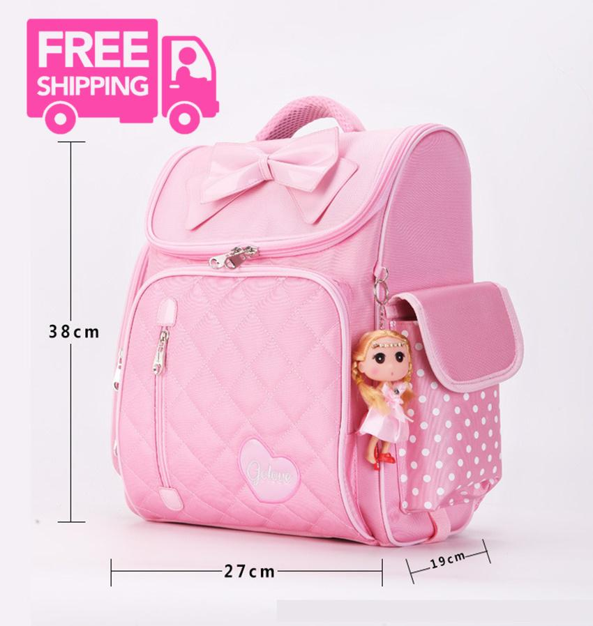 Giá bán balo cho bé tiểu học.ms 156.sở hữu ngay Balo chống gù lưng học sinh Golove kèm búp bê xinh xắn (Pink)- giảm giá đến 50% ngay hôm nay
