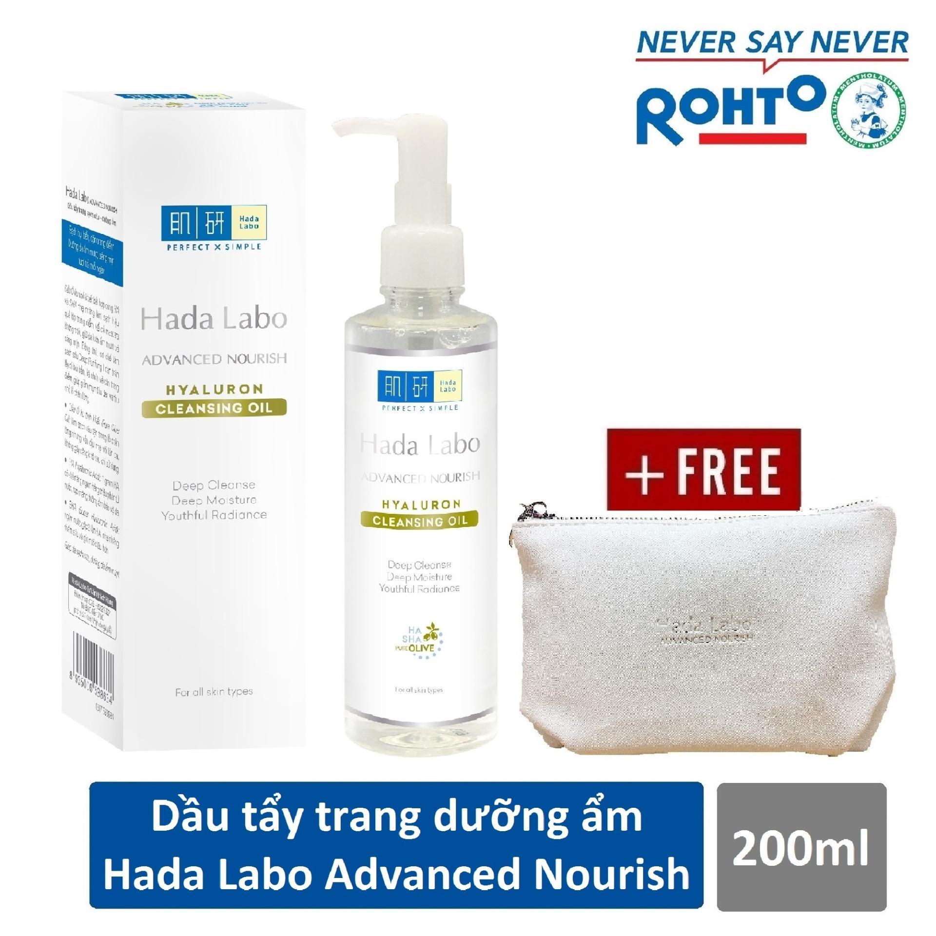 Dầu tẩy trang Hada Labo Advanced Nourish Hyaluron Cleansing Oil 200ml + Tặng Túi trang điểm cao cấp