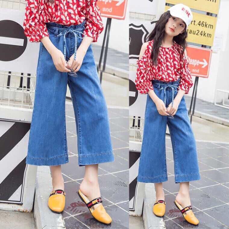 Giá bán Quần jeans ống rộng bé gái, follow shop quần đẹp