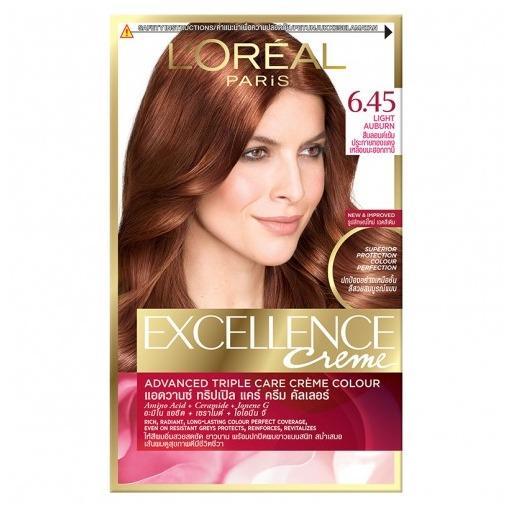 Thuốc nhuộm tóc Loreal Excellence Creme #6.45 Nâu ánh đỏ Tặng nón trùm tóc