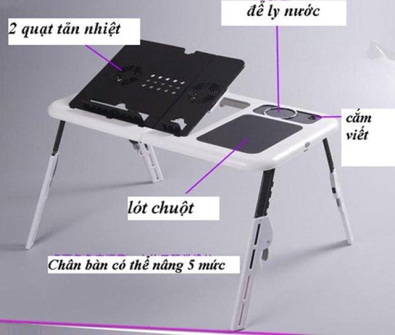 Bàn để laptop đa năng bằng nhựa ABS cao cấp có quạt tỏa nhiệt  - Kmart