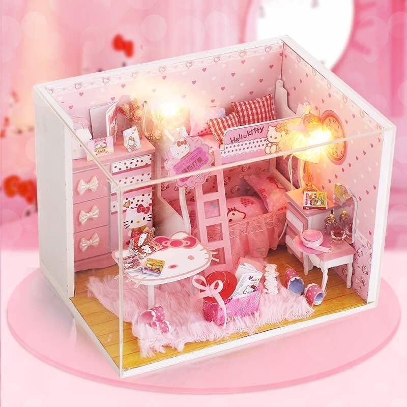 Hình ảnh Mô hình nhà gỗ DIY- Nhà búp bê PINK GIRL (Tặng mica) DiyDollHouse