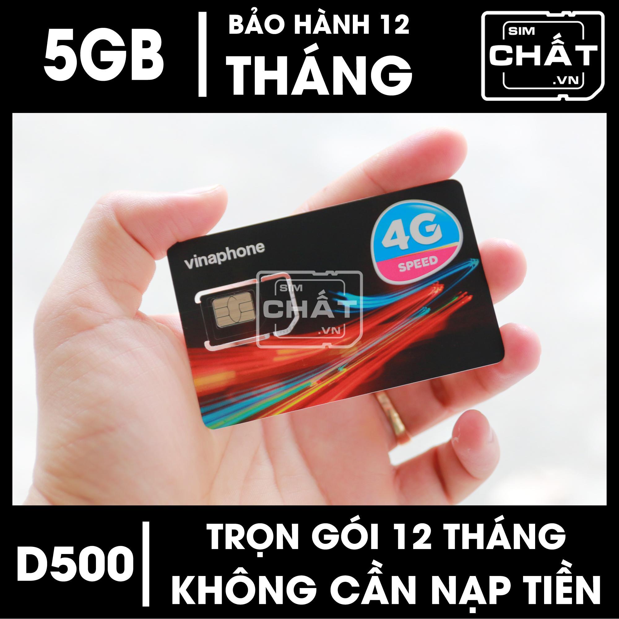 SIM 4G Vinaphone D500 dùng Trọn Gói 1 Năm Với 5GB/Tháng - SIM CHẤT