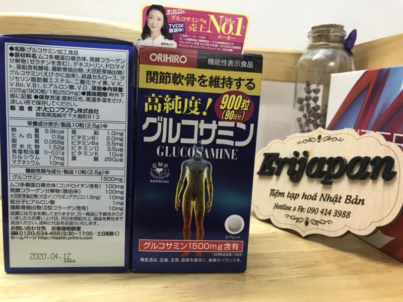 Viên uống bổ xương khớp Glucosamine 1500mg Orihiro Nhật Bản 900 viên date 2021 có bill bên cạnh cao cấp