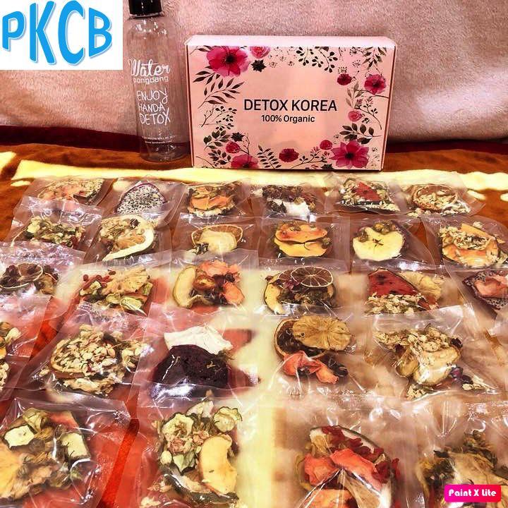 [VIP] Hộp 30 Set Gói Trà Detox hoa quả sấy khô giảm cân, DETOX KOREA Tặng bình Pongdang 1000ml (ảnh thật) - PKCB chính hãng