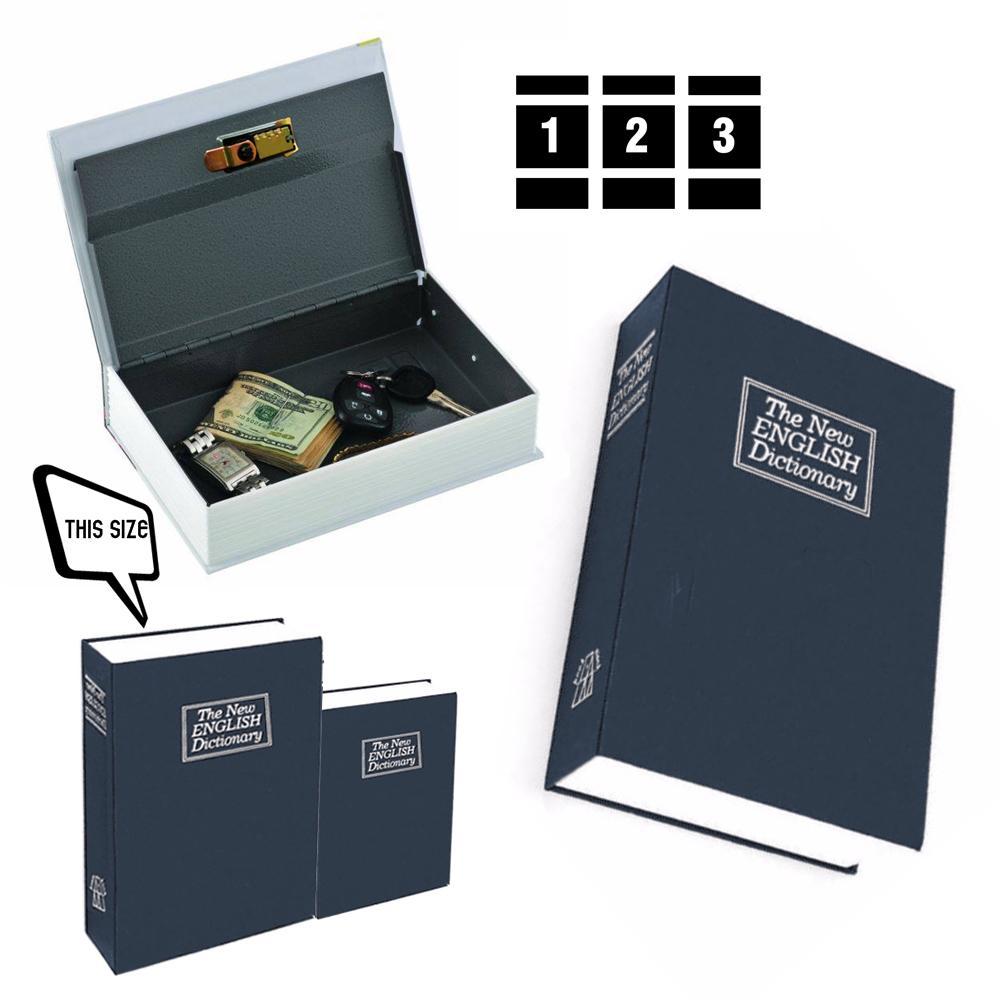Két sắt giả sách size lớn - Hộp đựng giấu đồ có khóa bảo mật từ điển xanh - GD011