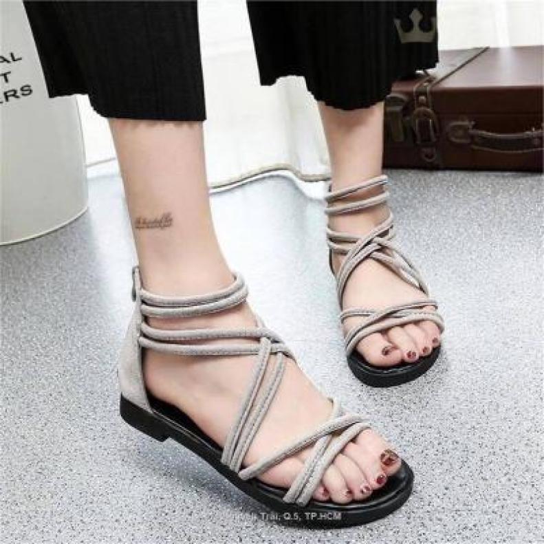 Giày sandal cột dây nhung giá rẻ