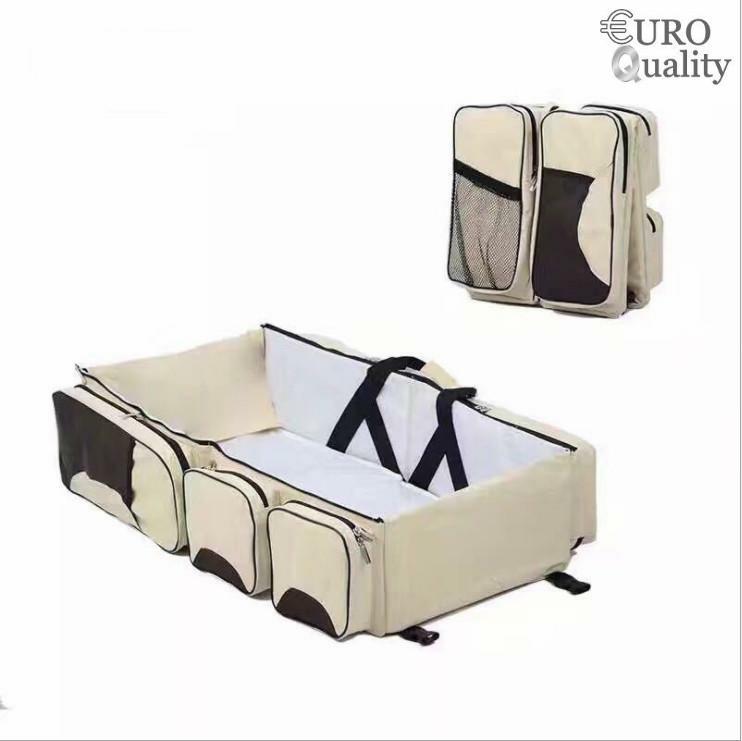 Túi xách đa năng Royal Baby màu Kem dành cho mẹ, xếp gọn được khi đi du lịch và có thể cho bé nằm ngủ kích thước ( 75x35x20cm ) - Euro Quality