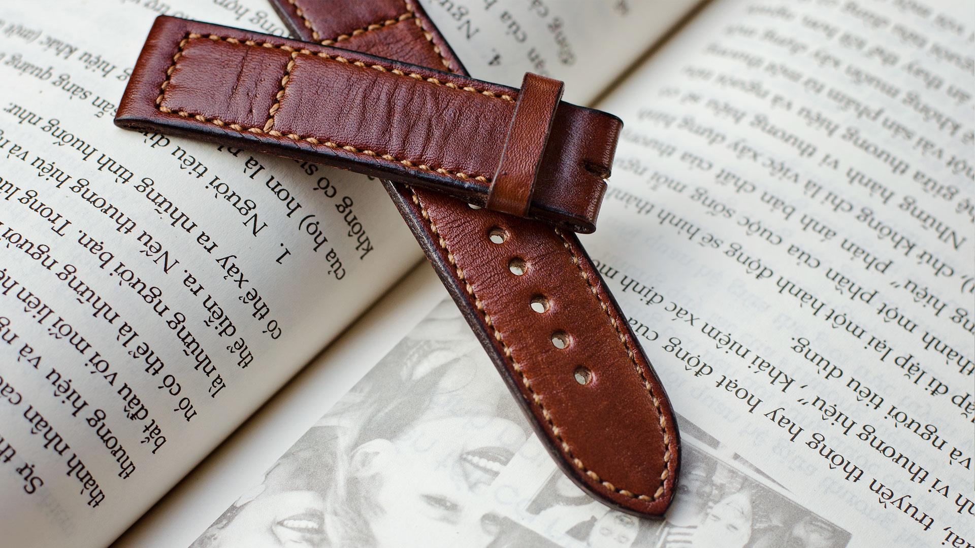 Dây đồng hồ nam da bò handmade mỏng mầu nâu  - Dây đồng hồ handmade nam da bò nhập khẩu - Dây đồng hồ Mino Crafts size 18-16mm DA0702V bán chạy