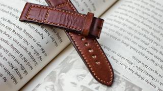 Dây đồng hồ nam da bò handmade mỏng mầu nâu - Dây đồng hồ handmade nam da bò nhập khẩu - Dây đồng hồ Mino Crafts size 18-16mm DA0702V thumbnail
