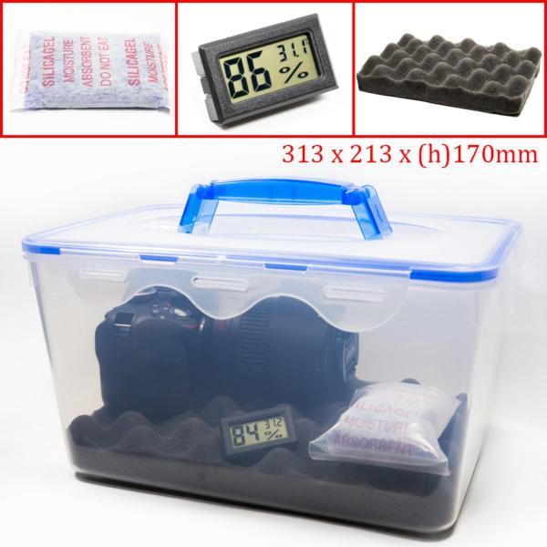 Combo hộp chống ẩm có tay cầm và ẩm kế, 100gram hạt hút ẩm xanh cho máy ảnh, máy quay phim - dung tích 8 lít (tặng mút xốp lót hộp) - 2TCAMERA-Q01105
