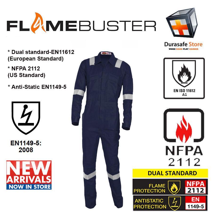 Bộ áo liền quần bảo hộ chống cháy FLAMEBUSTER FR 100% cotton Zip Màu Xanh Navy Size M/50