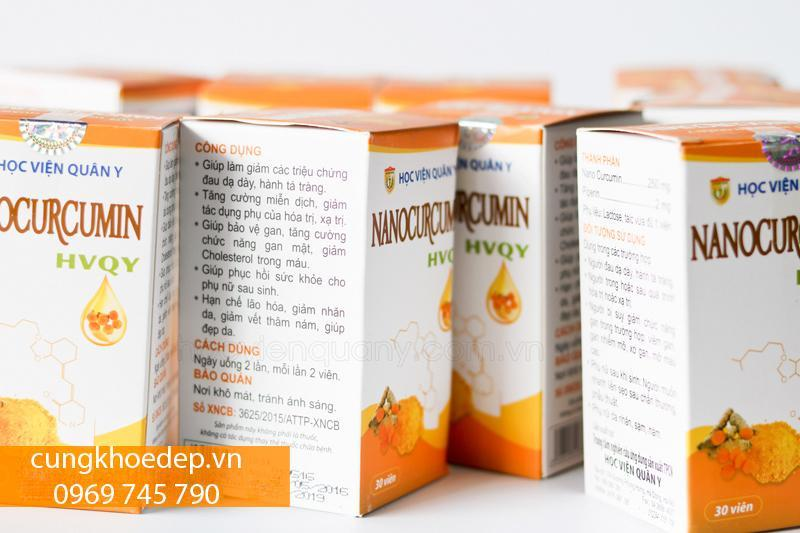 Viên uống nano curcumin Học viện Quân Y, hộp 30 viên nhập khẩu